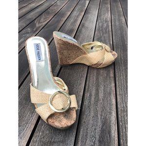 Steve Madden Cork Wedge Straw Sandals Sz 8